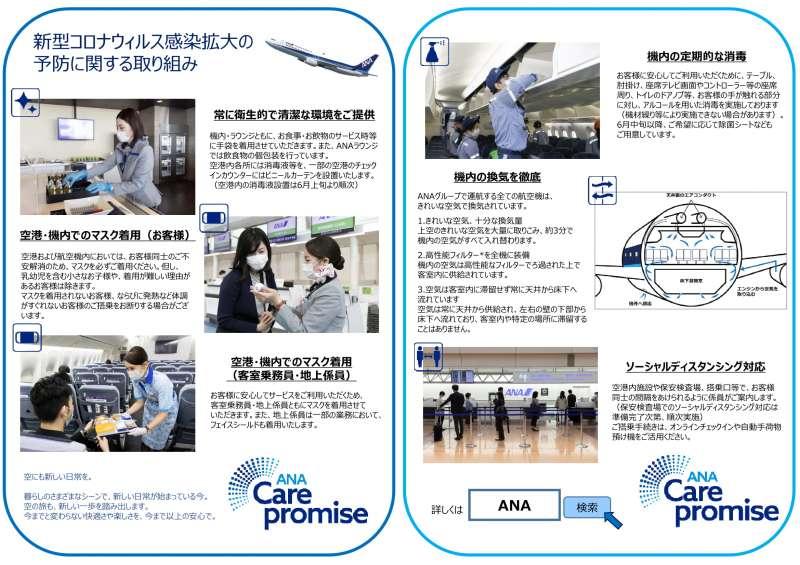 航空会社の感染予防取り組み(ANA)